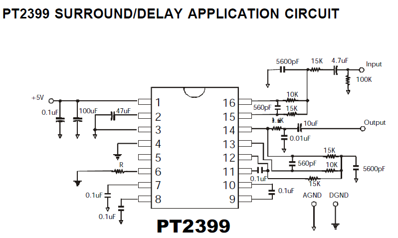 pt2399 digital delay ic diy audio circuitspt2399 surround delay application circuit